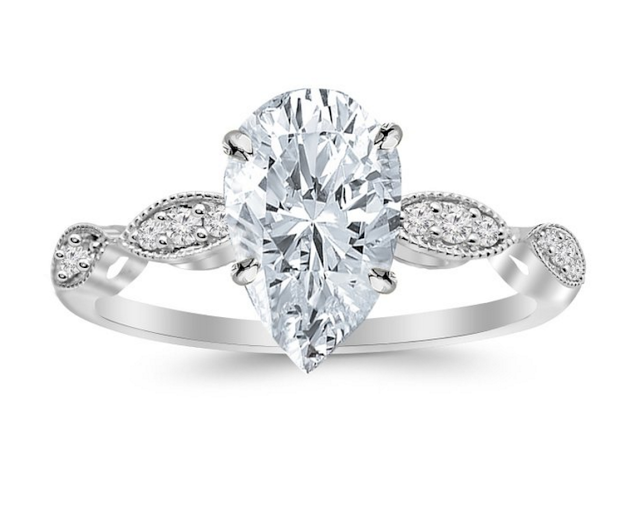 pear diamond in antique setting