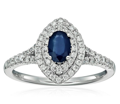 Sapphire and Diamond Engagement Ring on Amazon