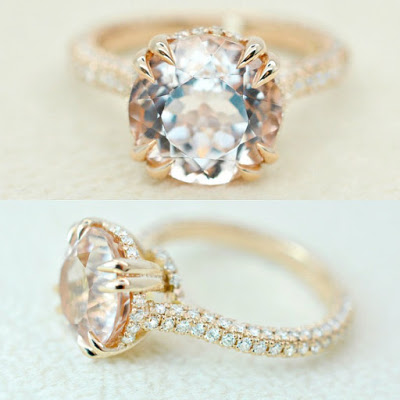 Morganite solitaire in rose gold