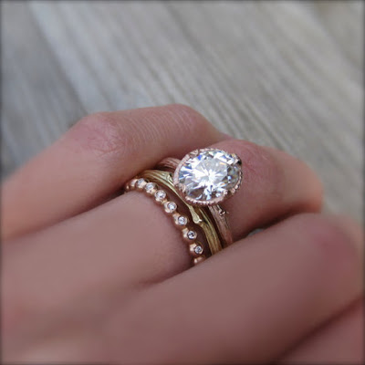 Oval Moissanite engagement ring by Kristin Coffin