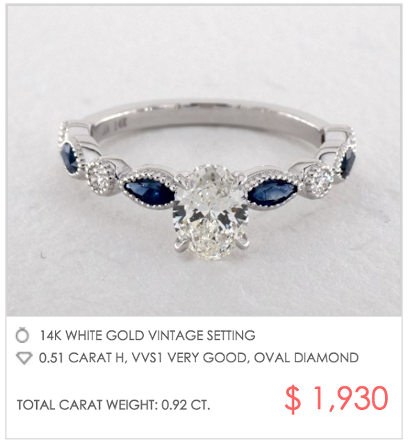 Vintage sapphire setting under $2000