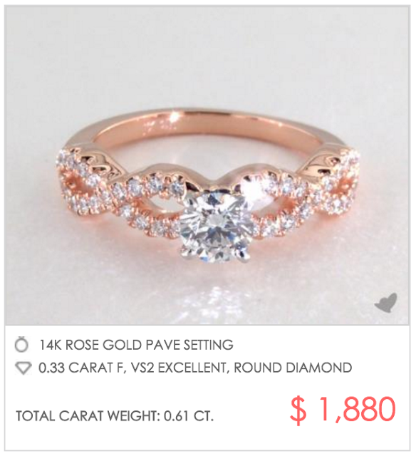 rose gold infinity pave setting under $2000