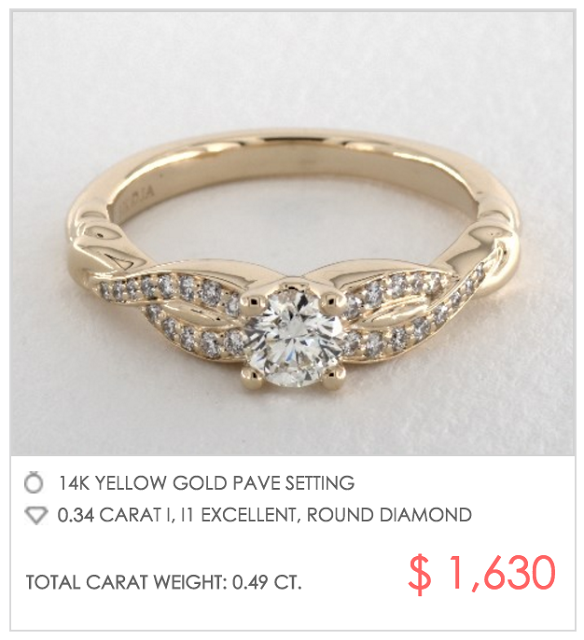 Gold pave crossover ring under $2000