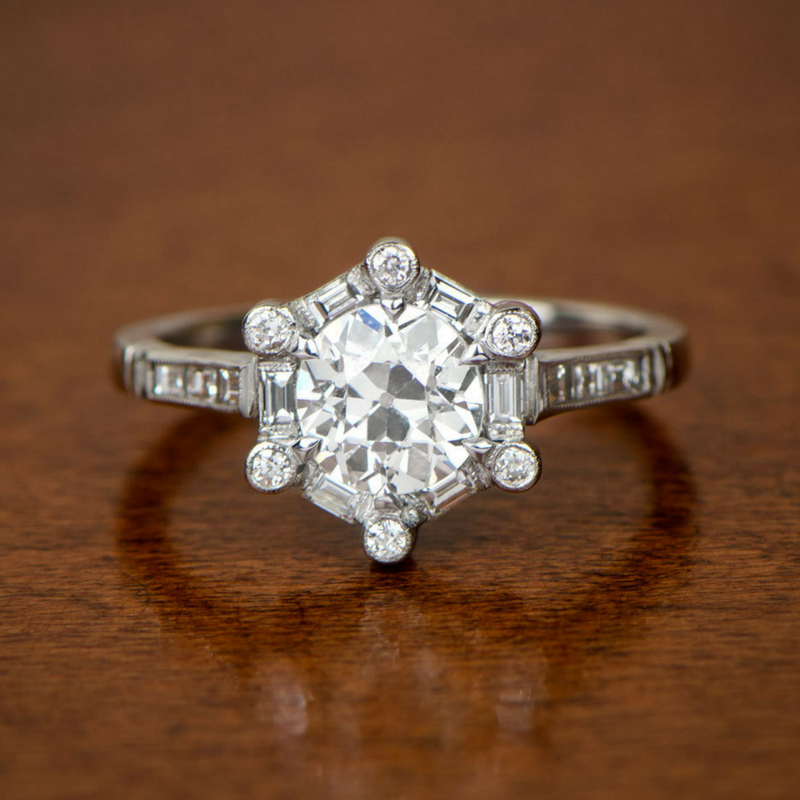 hexagonal halo engagement ring