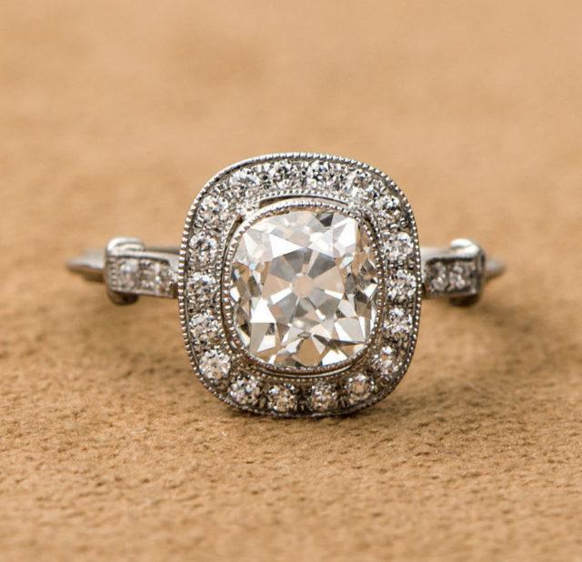 Old mine vintage halo engagement ring