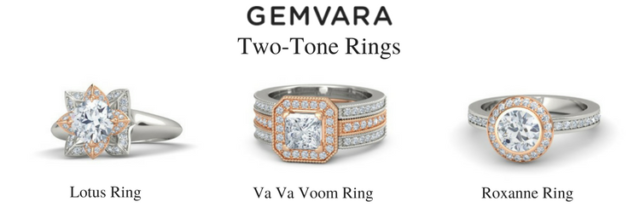 Gemvara two tone engagement rings