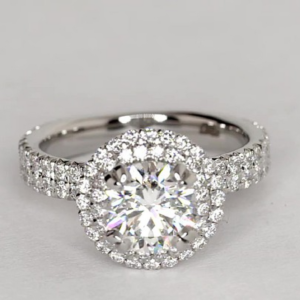 Blue Nile Studio Double Halo: $16,786 | Engagement Ring Voyeur
