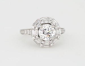 $18,675 Vintage-Style Halo Engagement Ring
