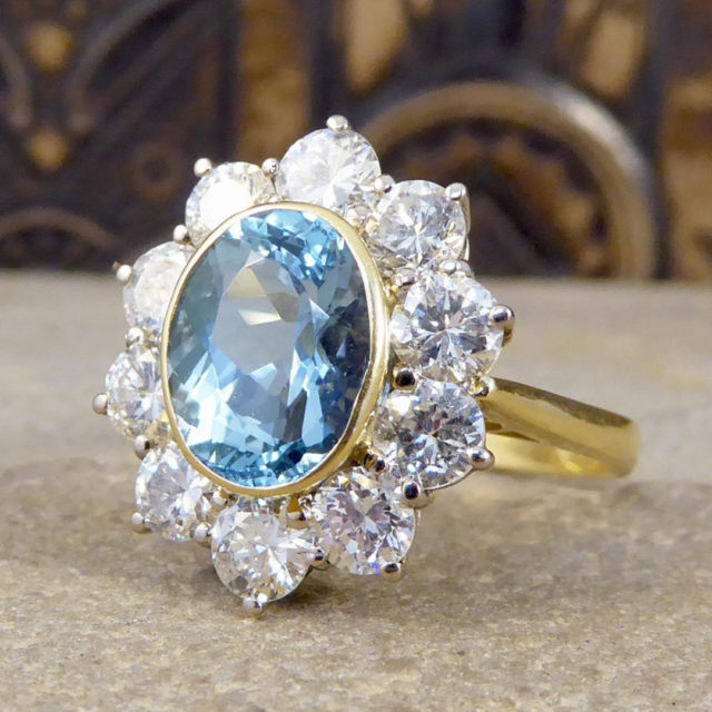 aquamarine cluster engagement ring
