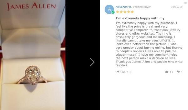 James Allen Falling Edge Halo Setting Reviews