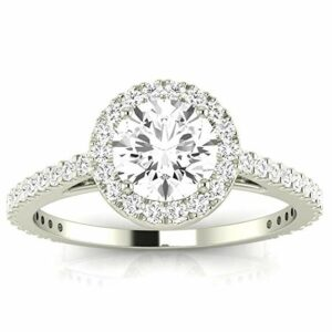 1 Carat t.w. Round Classic Halo Style Pave Set Round Shape Diamond Engagement Ring