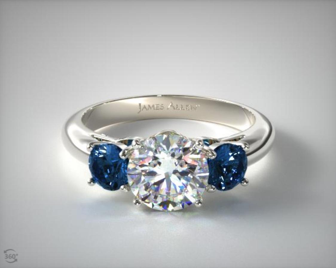 Tiffany sapphire 3 stone ring replica