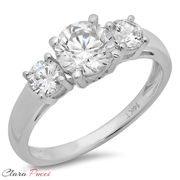 Three-Stone CZ and 14kt Gold Engagement Ring