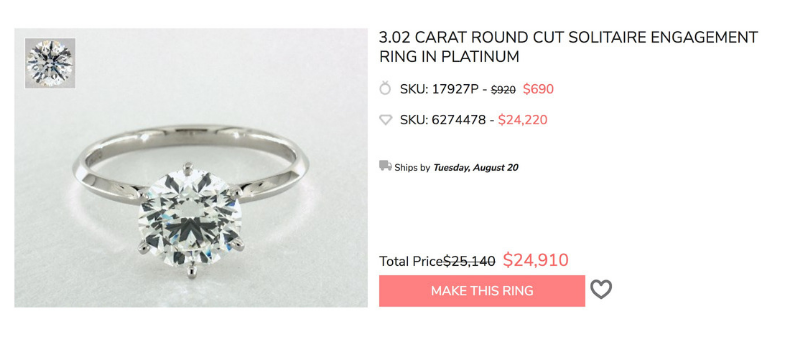 3 carat solitaire cost