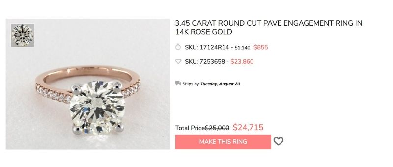 3 carat pave rose gold engagement ring