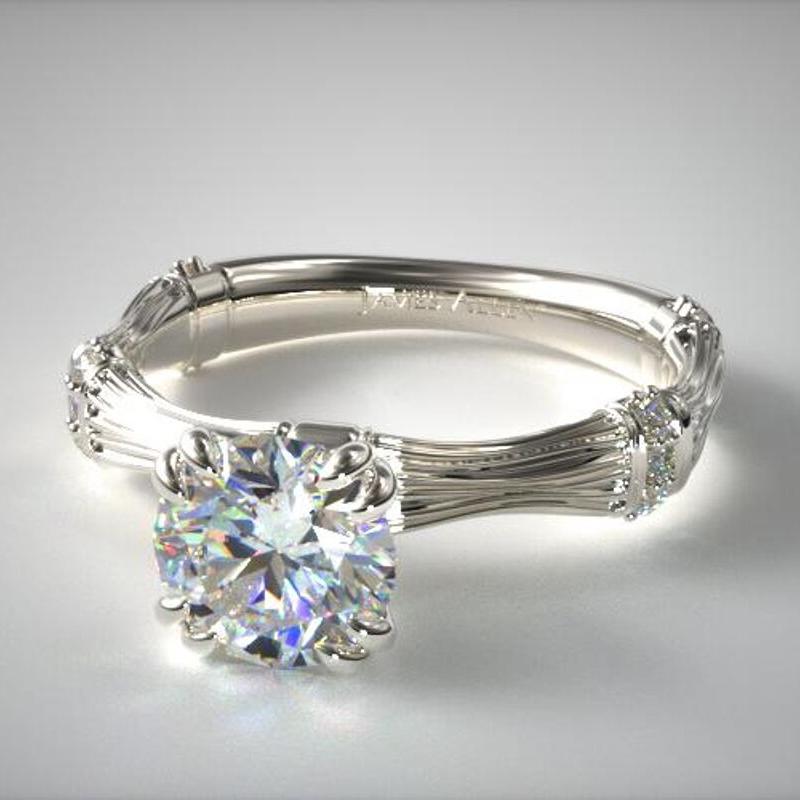 Bamboo Motif Engagement Ring
