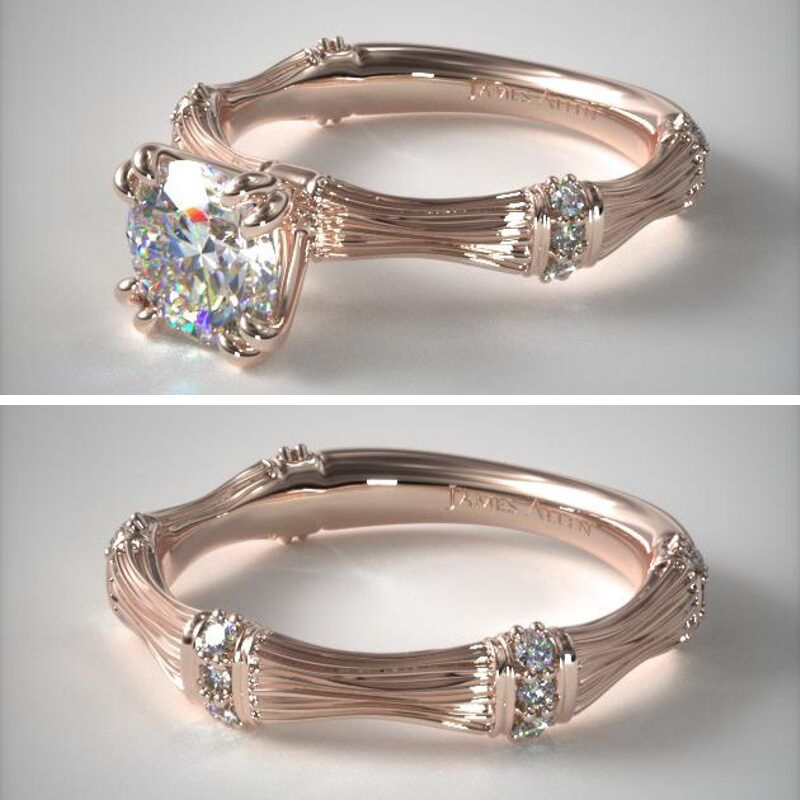 James Allen Bamboo motif engagement ring and band