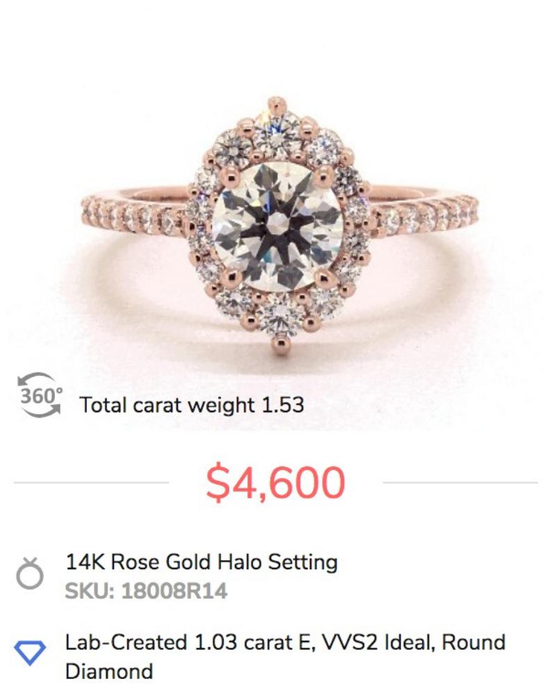 Rose Gold Halo Lab Diamond