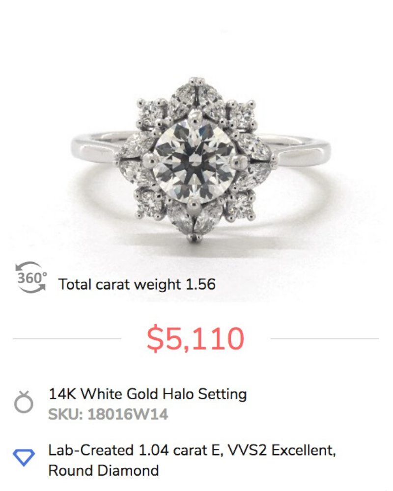 lab diamonds marquise halo