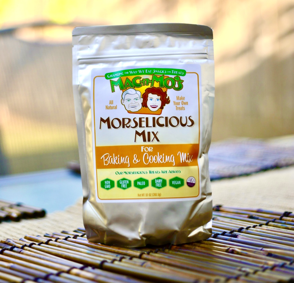 Photo of one bag of Mac-n-Mo's Morselicious baking and cooking mix.