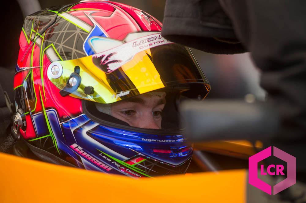 Logan sporting his Lone Palm Design racing helmet