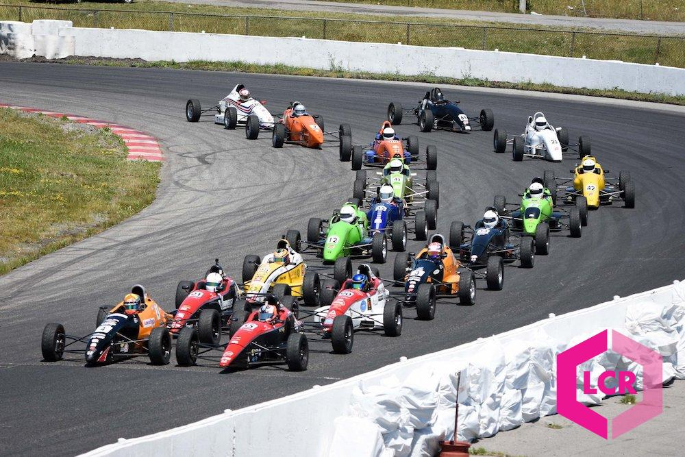 F1600 race cars lined up for a rolling start at Shannonville Motorsport Park
