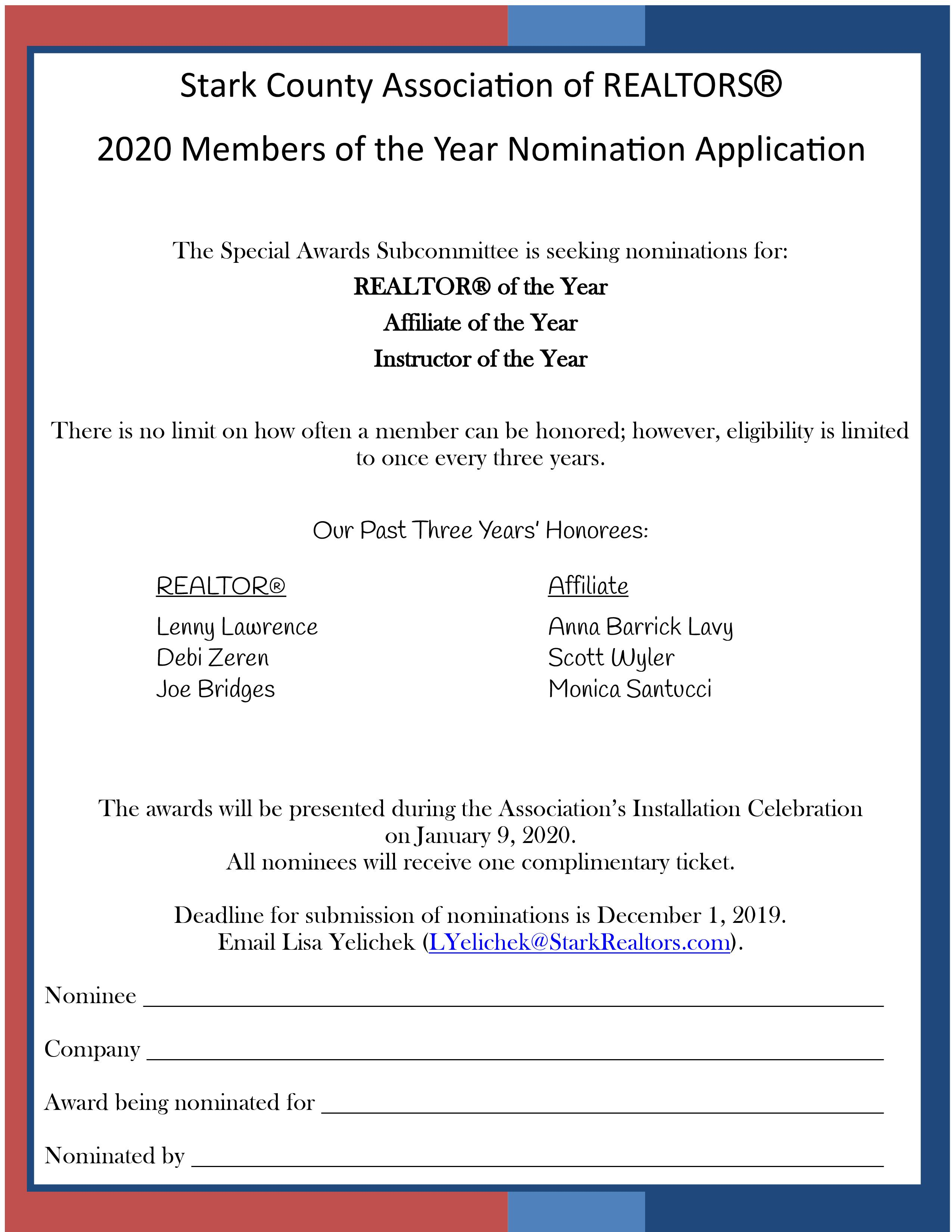 Nominate a SCAR Member for 2020 Member of the Year