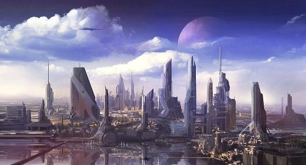 Artwork of a futuristic cityscape on Prog Rock Dock