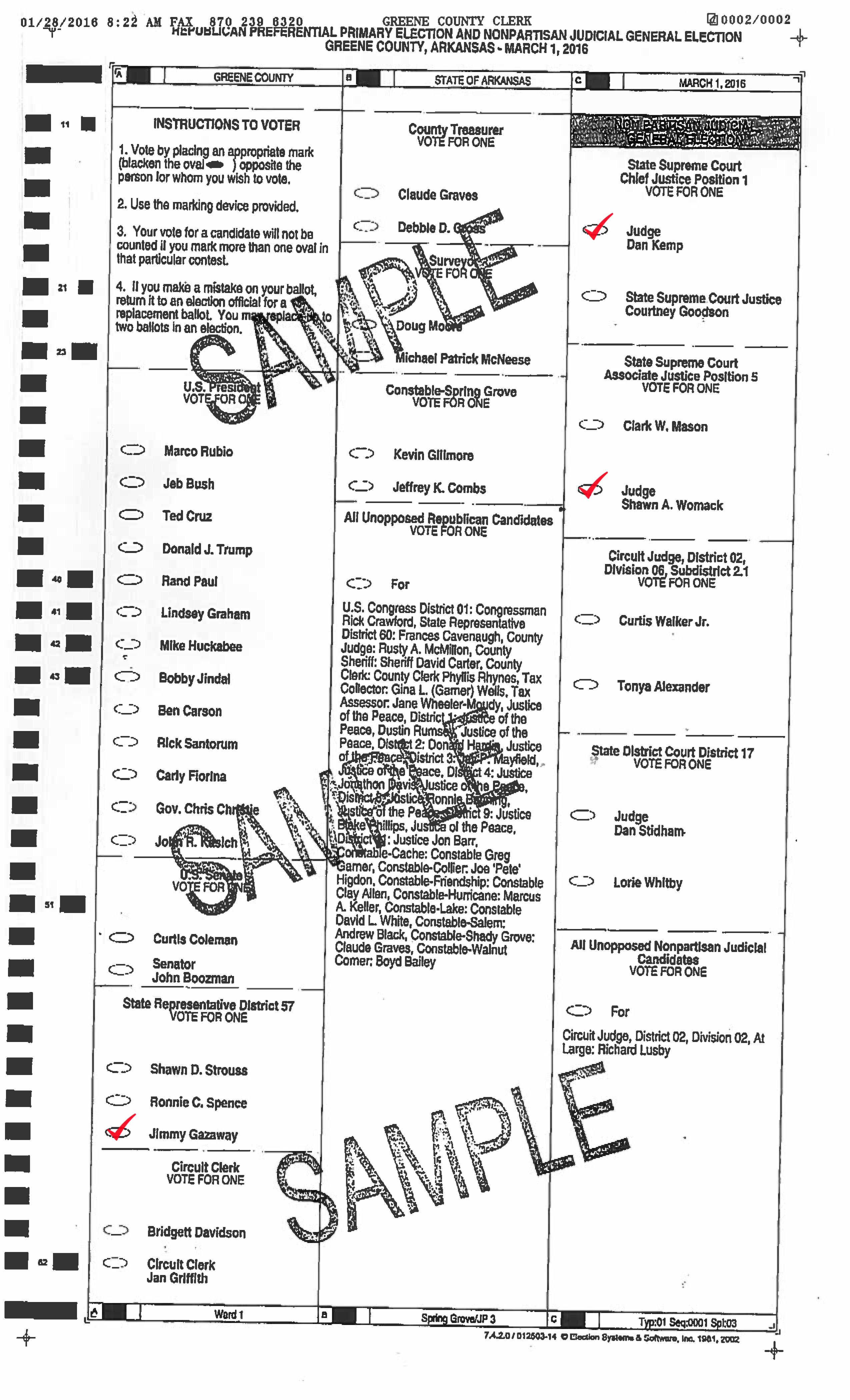 Gazaway ballot