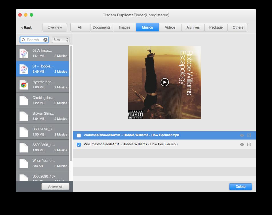 iTunes duplicate remover-cisdem duplicatefinder