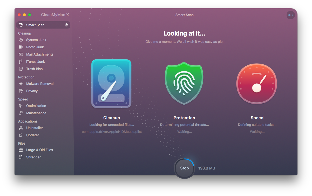 CleanMyMac X scanning scr