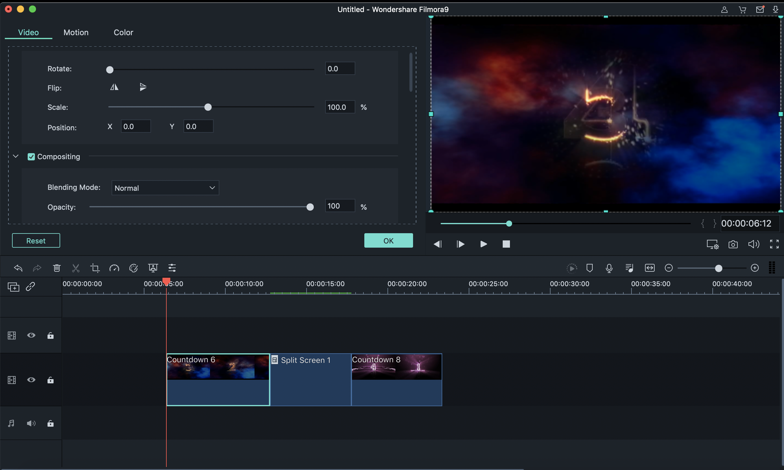 Filmora video editor -split screen