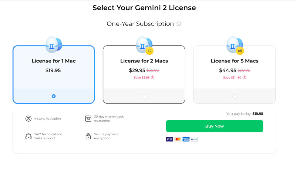 Gemini 2 duplicate file year price