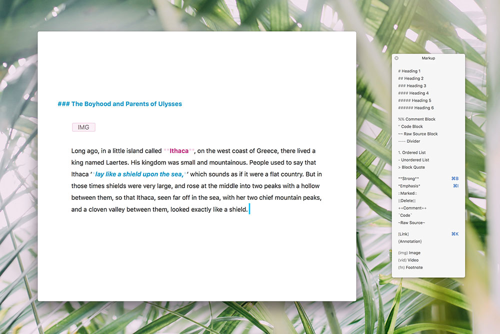 Ulysses markup based editor