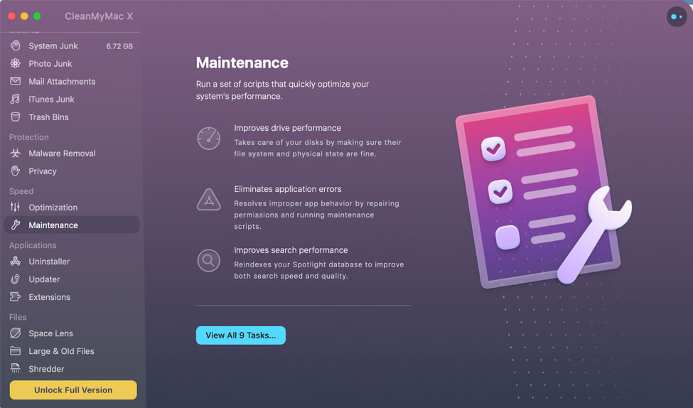 CleanMyMac X maintenance