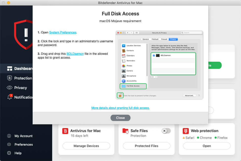 Bitdefender Antivirus the Full Disk Access permissions