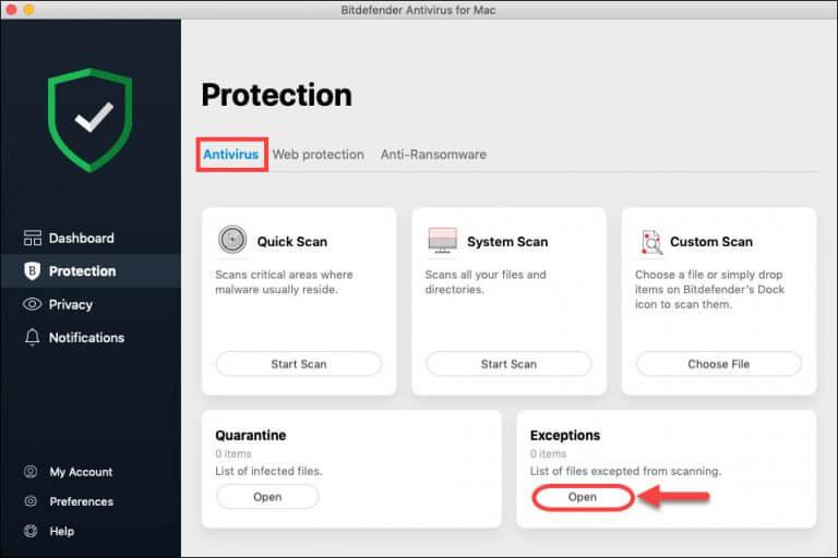 Bitdefender Antivirus On-demand scans