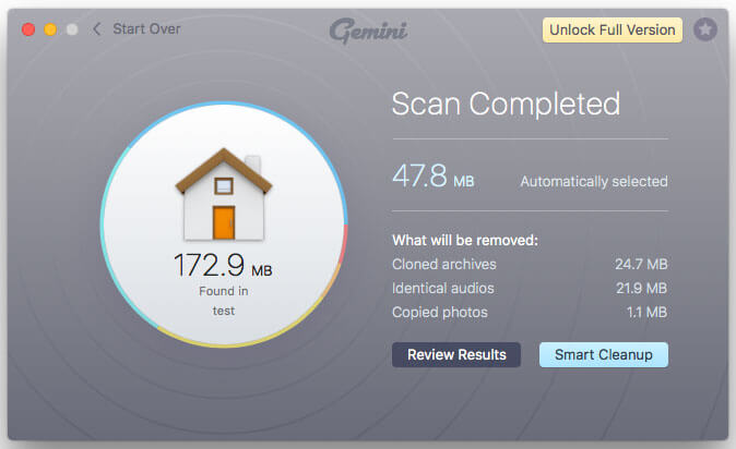 Gemini 2 Duplicate Finder for Mac scan completed