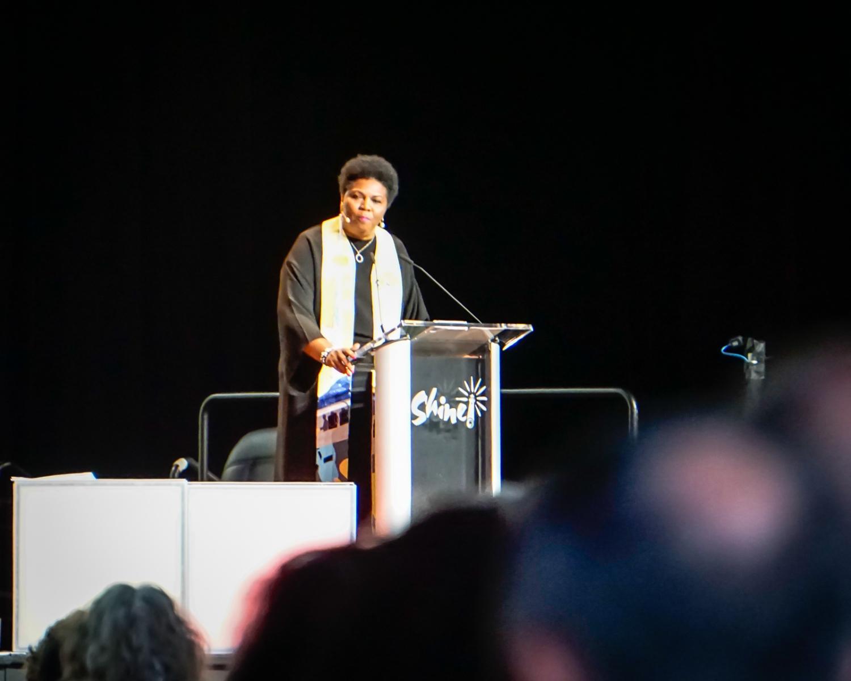 Rev. Traci Blackmon in the pulpit