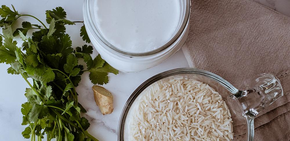arroz leche coco jengibre cilantro