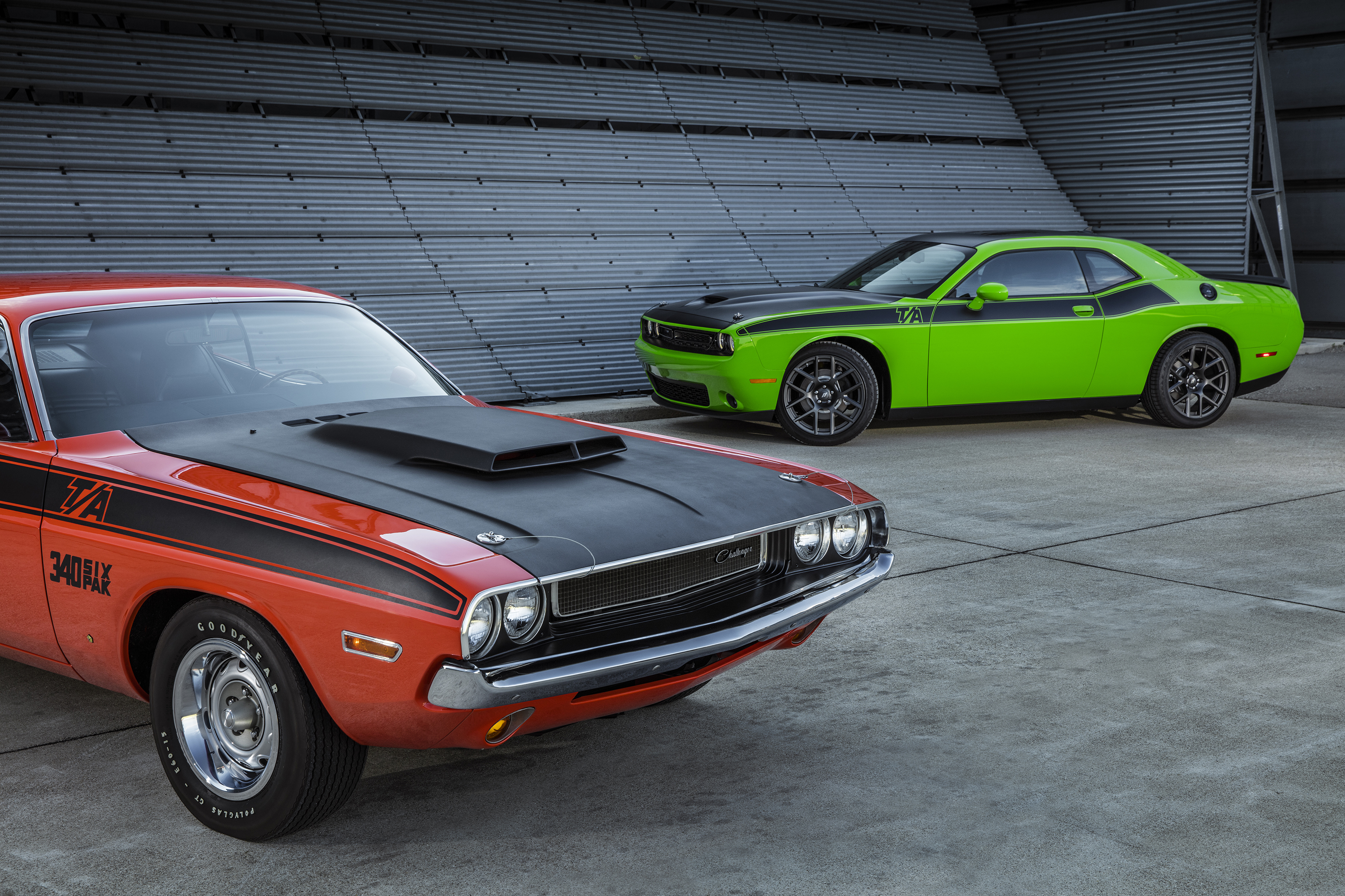 1970 Dodge Challenger T/A (left) and 2017 Dodge Challenger T/A (