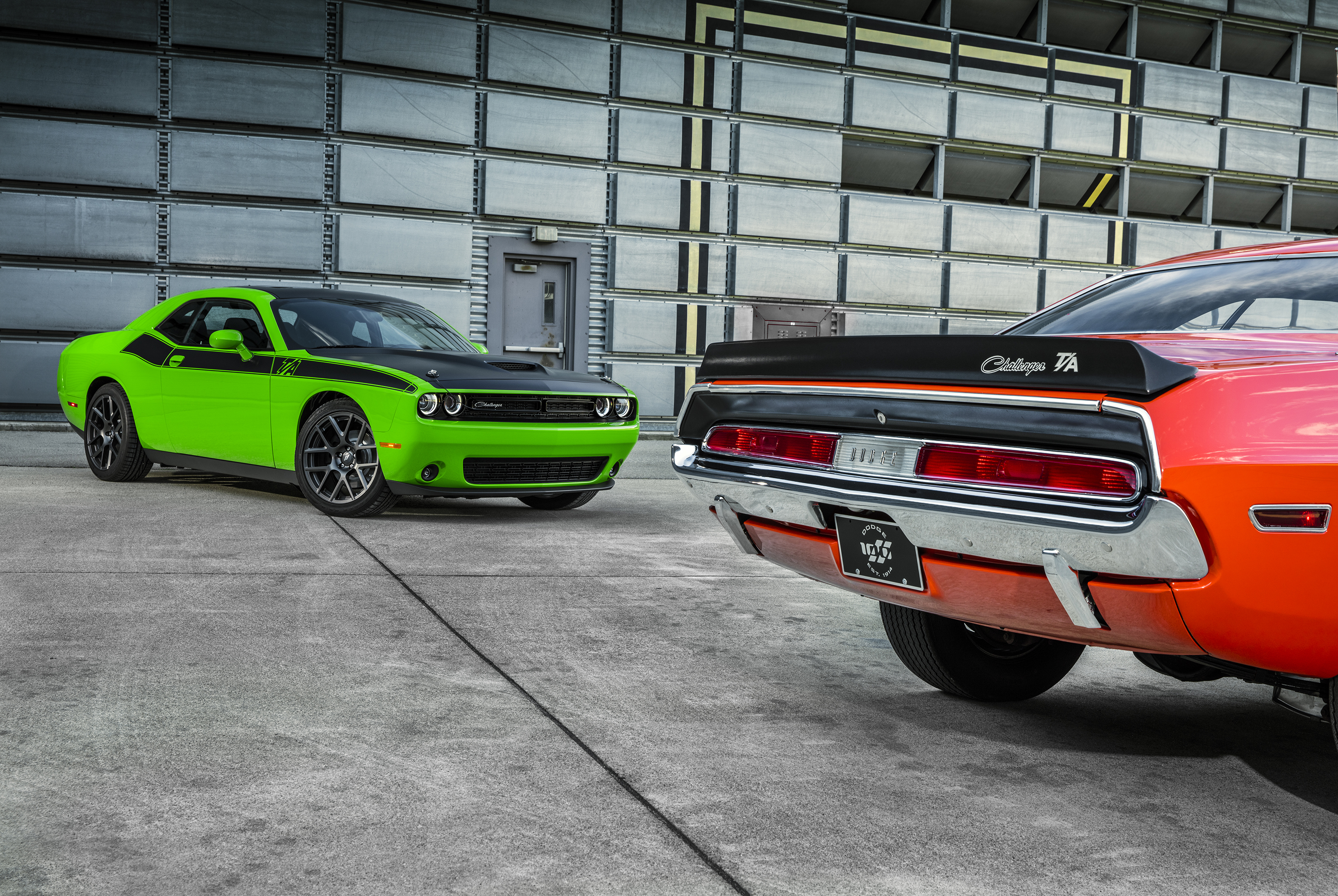 2017 Dodge Challenger T/A (left) and 1970 Dodge Challenger T/A (