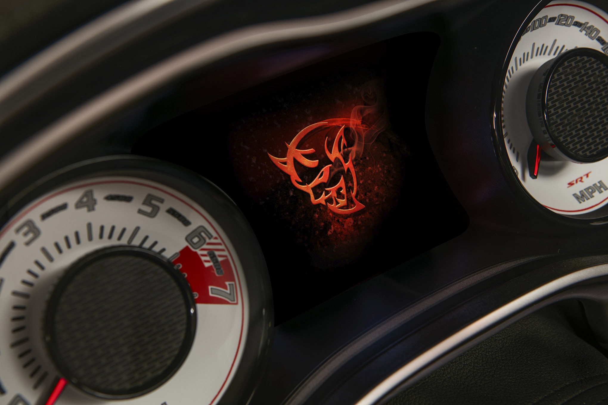 The Demon logo startup screen displayed on the 2018 Dodge Challe