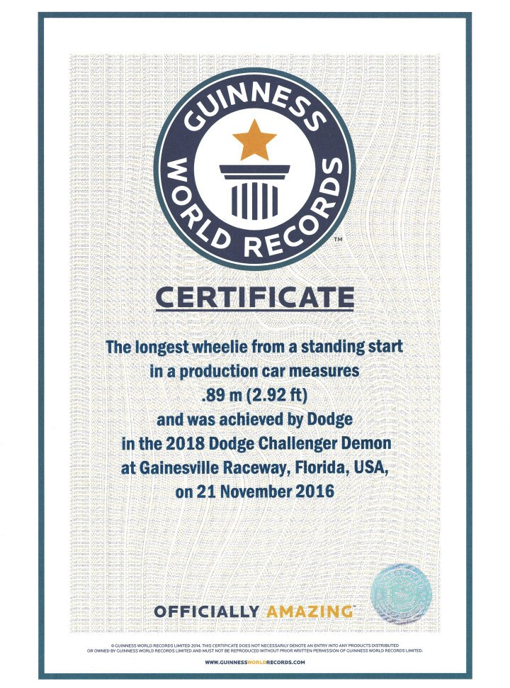 Guinness World Records certification of the 2018 Dodge Challenge