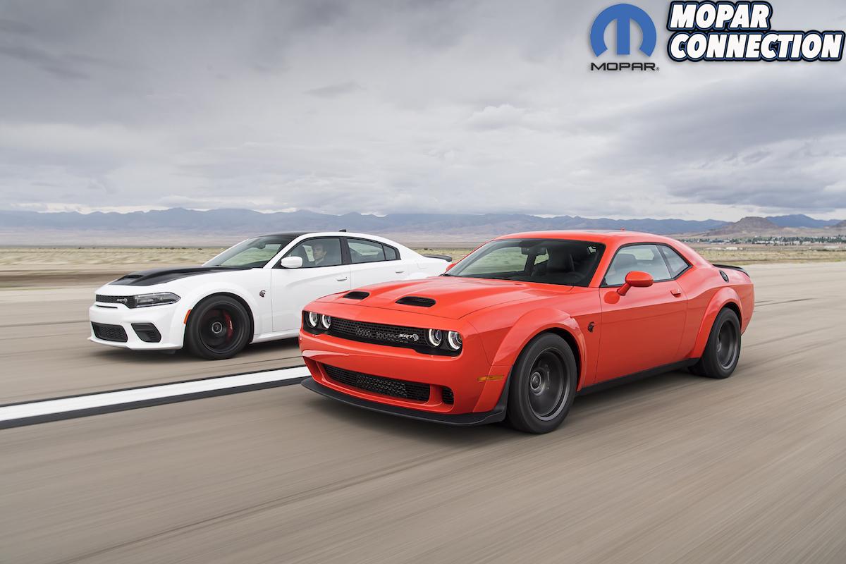 2021 Dodge Charger SRT Hellcat (left) and 2020 Dodge Challenger