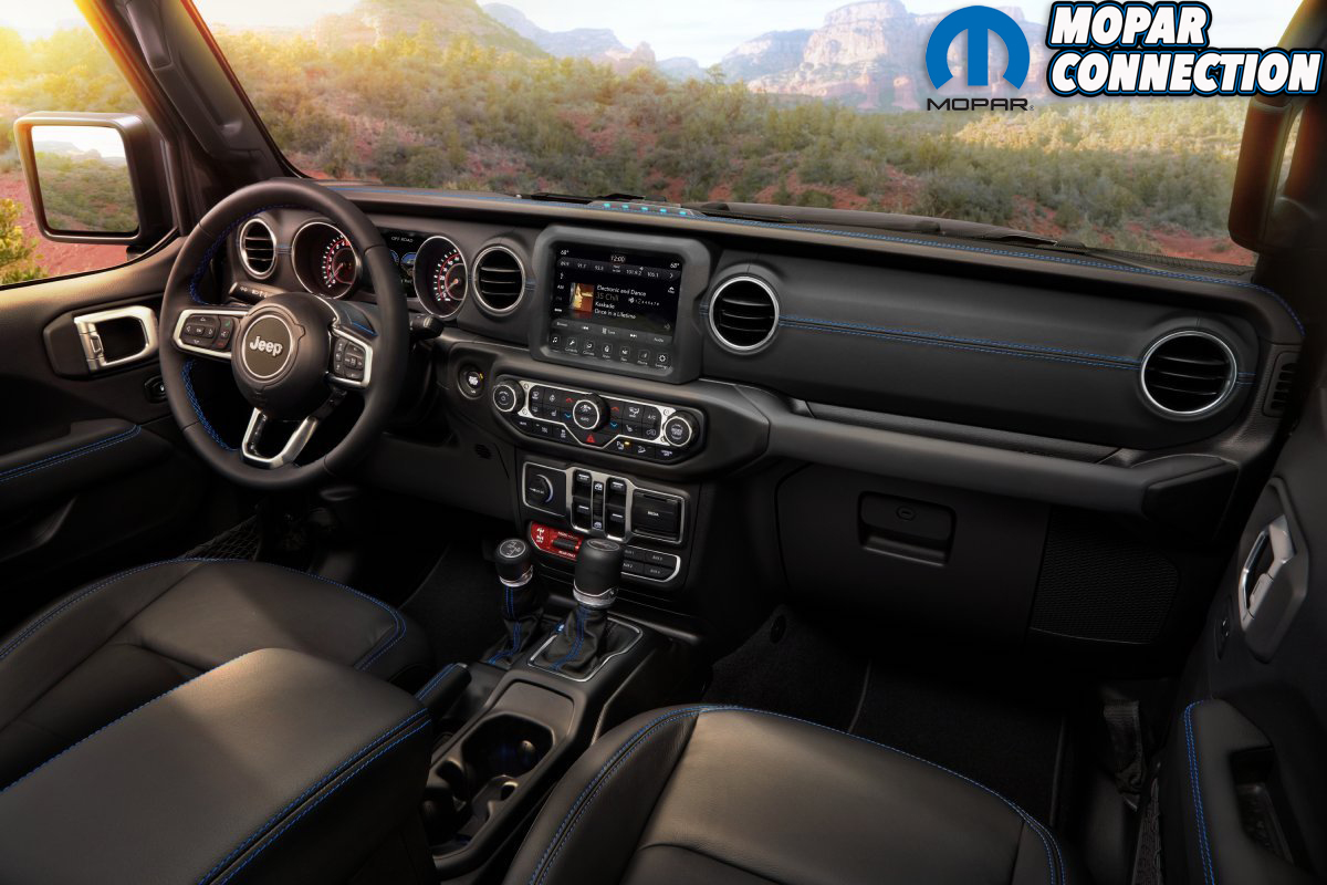 Interior of the 2021 Jeep® Wrangler Rubicon 4xe includes Surf B