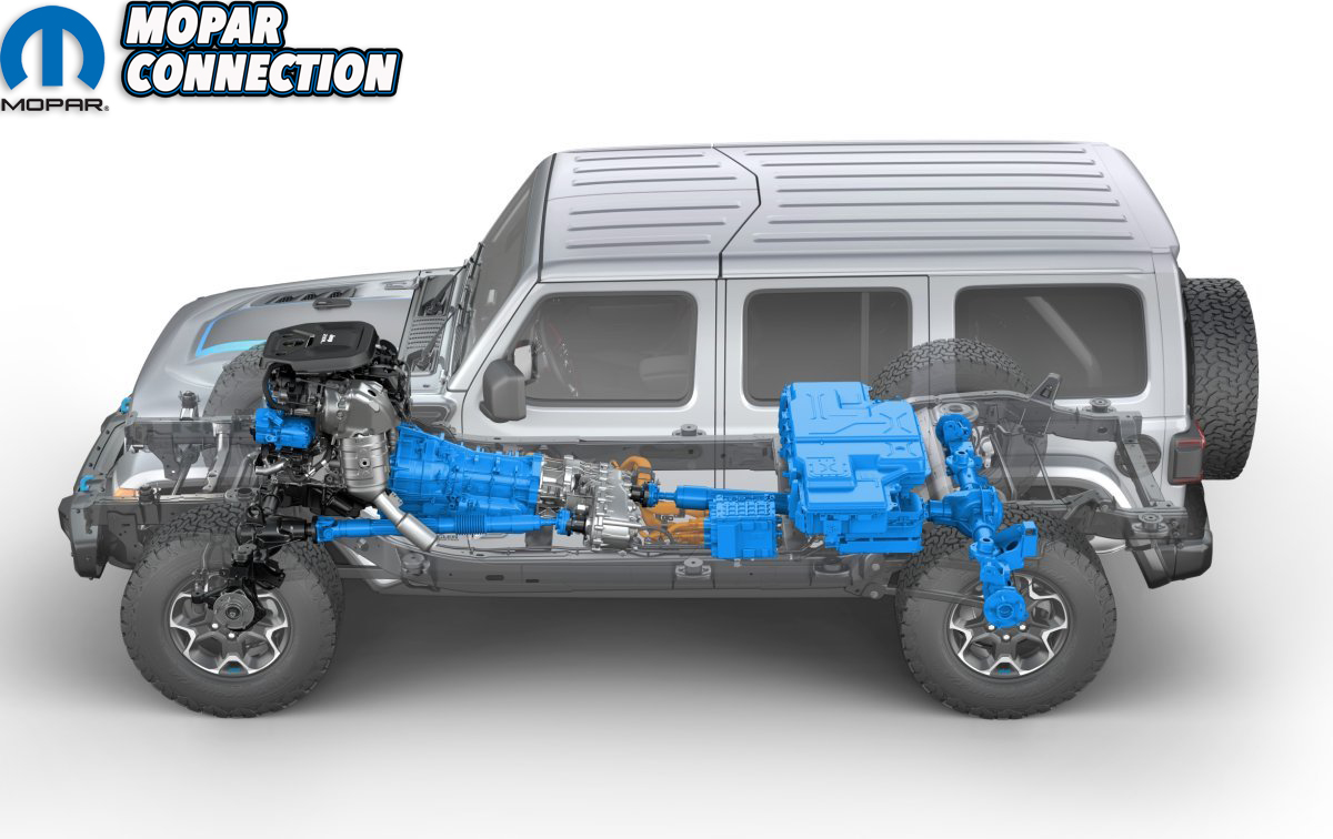 Side view of the 2021 Jeep® Wrangler Rubicon 4xe hybrid electri