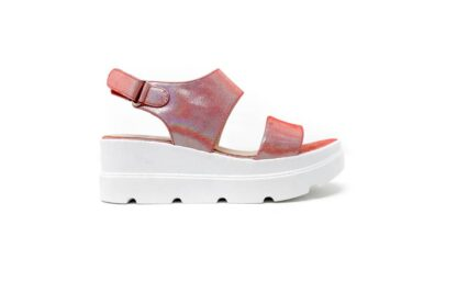 a pink wedge sandal