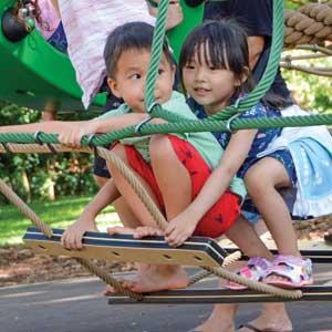 Children swinging on playground equipment at the Honolulu Zoo