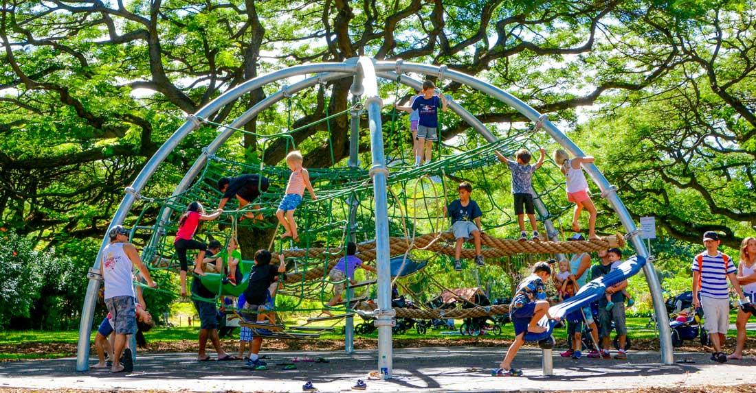 Dome climber playground at the Honolulu Zoo